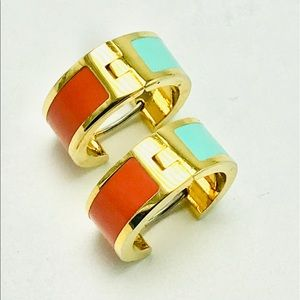 Vintage coral and turquoise Huggie earrings